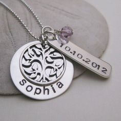 Baby Name, Tree of Life Charm and Birthdate Necklace - Baby Name Necklace - Mommy Necklace - New Baby Jewelry