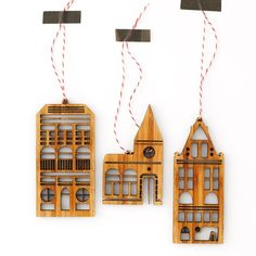 Amsterdam Row House Ornaments (Set of 3)