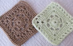 """This pattern includes the instructions for both squares. Worked in a four patch, as they are 5""""x5"""", you can stitch the four patch together and work a round of contrasting color of yarn dc's around them a make the 12""""x12"""" four patch."""