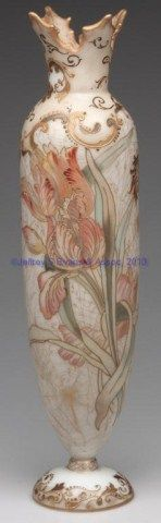 Mt Washington Crown Milano Footed Vase with Iris Decoration - 15 inch HOA