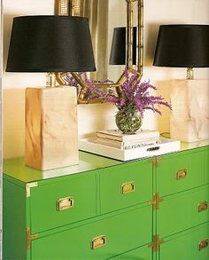 green campaign, black lamp shades