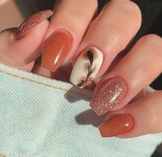 Fall Toe Nails, Simple Fall Nails, Cute Nails For Fall, Fall Acrylic Nails, Autumn Nails, Orange Nail Designs, Fall Nail Designs, Toe Nail Color, Nail Colors