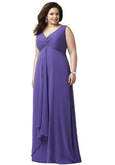 Floor Length V Neck Empire Waist Chiffon Sleeveless A line Bridesmaids Dresses - 1300302632B - US$169.99 - BellasDress