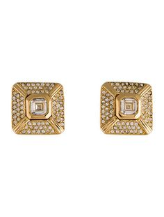 Christian Dior Square Clip-On Earrings