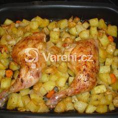 Kuřecí stehna na řecký způsob Poultry, Shrimp, Food And Drink, Sweets, Chicken, Recipes, Gardening, Backyard Chickens, Garten