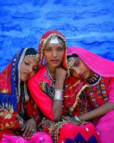 Three dancers in the Muslim section of Jodhpur, Rajasthan, India