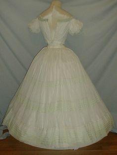 Gossamer 1860's Civil War Era White Muslin Dress   eBay