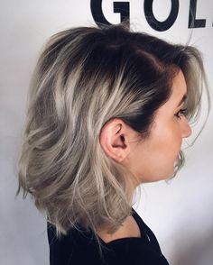 Image result for ash blonde dark roots