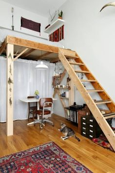 Making the most of a tiny home. 2 humans, one dog, and two cats call this little NYC matchbox home.
