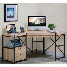 Turnkey Emery 2-Piece Corner Desk with Pedestal in Light Brown