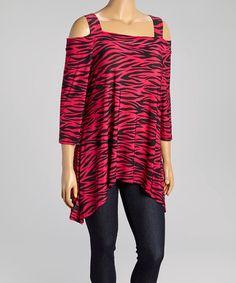 Look at this #zulilyfind! Fuchsia & Zebra Sidetail Tunic - Plus by Come N See #zulilyfinds