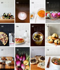 2014 Calendar Food photography Kitchen Art Home by SweetFineDay