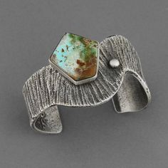 Cuff | Stewart Billie. (Navajo). Sterling Silver, Natural Pilot Mountain Turquoise