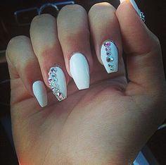 Love! White coffin/ballerina rhinestone nails #LaqueNailBar