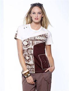 Tee-shirt pur coton, femme IMPRIME