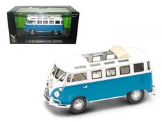 1962 Volkswagen Microbus Van Bus Blue With Open Roof 1/43 Diecast Car by Road Signature - 1962 Volkswagen Microbus Van Bus Blue With Open Roof Diecast Model Car 1/43 Die Cast Car by Road Signature. Made of diecast with some plastic parts. Detailed interior, exterior. Has plastic display stand with plastic show case. Dimensions approximately L-3.5 inches long. Please note that manufacturer may change packing box at anytime. Product will stay exactly the same.-Weight: 1. Height: 5. Width: 9…