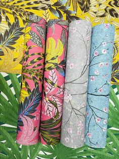 Is your home summer ready? 👀 Shop our gorgeous range of bold summery prints on our website today 🌿 - #interiordesigncontemporary #junglevibes #jungledecor #junglehome #junglehouse #jungledesign #japaneseinterior #cherryblossomprint #summerprints #summerinterior #summeruk #summer2021 Yellow And Brown, Pink Yellow, Jungle House, Jungle Vibes, Brown Wallpaper, Vinyl Paper, Inspirational Wallpapers, Japanese Interior, Pattern Matching