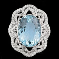 $32400 CERTIFIED 14K WHITE GOLD 10CT UNTREATED FLAWLESS AQUAMARINE DIAMOND RING