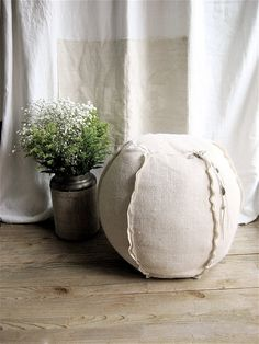 For the class room?    Burlap Pouf/Ottoman by lovintagefinds on Etsy, $85.00