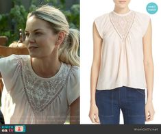 Emma's embroidered top on Once Upon a Time.  Outfit Details: https://wornontv.net/60468/ #OUAT