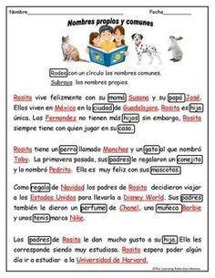 Sustantivos comunes /propios  Tarjetas, hojas de trabjo y mas.   Subscription allows you to download everything on our site!! http://www.thelearningpatio.com/whats-new.html