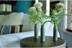 who knew weeds could be so beautiful? bullet shell casings make great votive holders. vintage upcycle www.huntandhost.com