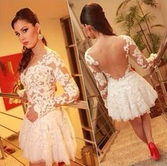 Female sexy Lace Prom Dress cocktail dresses, exposed to the dance party dress #OwnBrand #BallGown #Formal--$18 on ebay