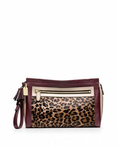 Coach 'Legacy' Ocelot Colorblock Haircalf & Leather Clutch