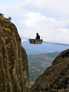 Transportation of the Monks at Meteora Monasteries, Trikala, Central Greece