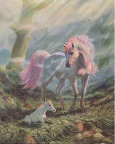 Fantasy Creatures Mother Unicorn And Baby Unicorn And Fairies, Unicorn Fantasy, Unicorns And Mermaids, Unicorn Art, Magical Unicorn, Unicorn Painting, Beautiful Unicorn, Beautiful Gif, Elfen Fantasy