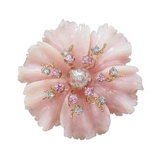 Russell Trusso Peruvian Pink Opal Pink Sapphire Diamond Gold Brooch Pendant | See more rare vintage Necklace Enhancers at http://www.1stdibs.com/jewelry/necklaces/necklace-enhancers