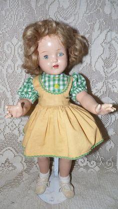 "VINTAGE IDEAL/HORSMAN 40'S SHIRLEY TEMPLE JOINTED COMPOSITION DOLL W/STAND 20"" #Dolls"