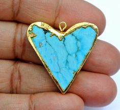 Gold Electroplated Edge Turquoise Fancy Heart by RareGemsNJewels