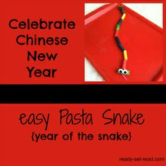Chinese New Year 2013 Book Activity - Easy Pasta Snake from Ready-Set-Read! Chinese New Year Activities, New Years Activities, Craft Activities For Kids, Book Activities, Snake Crafts, Chinese New Year Crafts, Year Of The Snake, Kids Daycare, New Year's Crafts