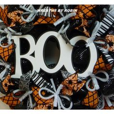 BOO Halloween Wreath, Black White Orange, Wreaths for the Door,... ($65) ❤ liked on Polyvore featuring home, home decor, holiday decorations, halloween wreaths, halloween home decor, halloween door wreaths, black and white home decor and orange home decor