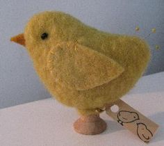 "Baby Chick Peep Make-do  Handstitched from felted hand-dyed wool with wooden spool base (spool may vary).  3 1/2"" x 3 1/2"""