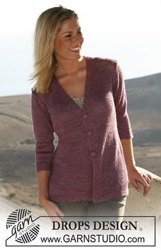Ravelry: 105-39 Jacket with ¾ sleeves and crochet button pattern by DROPS design
