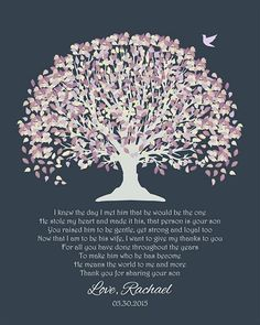 Personalized Art Print Gift For Mother of Groom Parents Father I Knew The Day I Met Him Pale Purple Canopy Leaves With Dark Slate Background Brides Gift From Bride And Groom Mothers Day Family Tree Wedding Poem Verse Thank You Gift Anniversary Gift Housew
