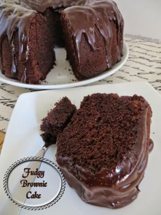 Fudgy Brownie Cake - Chocolate cake and fudgy brownie batter are combined, then topped off with a creamy ganache.
