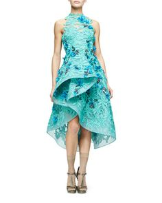 Floral-Embellished Guipure-Lace Dress, Mint by Monique Lhuillier at Neiman Marcus.