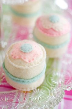 Set of 6  Toy Faux Petit Fours by doughandbatter on Etsy, $18.00