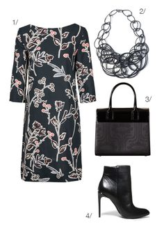 how to wear a floral pattern dress with a statement necklace // click for outfit details