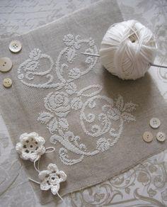 Lovely embroidery - white thread on ecru linen ♥