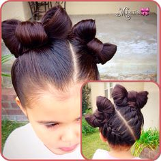 Bows hair style for little girls Back braided bow hairstyle. Little Girl Hairdos, Lil Girl Hairstyles, Kids Braided Hairstyles, Princess Hairstyles, Pretty Hairstyles, Girl Hair Dos, Kid Hair, Natural Hair Styles, Long Hair Styles