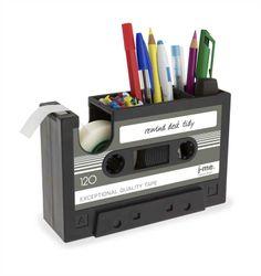 Stifteköcher & Klebebandroller Rewind, Kasette, Retro, Schreibtischhelfer, grau