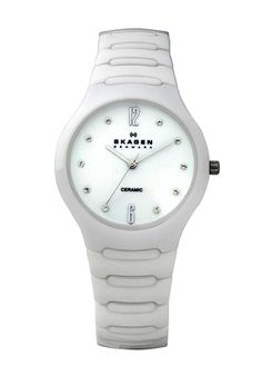 Price:$120.63 #watches Skagen 817SSXC, Ceramic case, Ceramic bracelet, White dial, Quartz movement, Scratch-resistant mineral, Water resistant up to 3 ATM - 30 meters - 100 feet