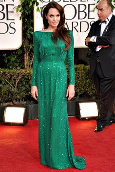 Angelina Jolie emerald green red carpet gown