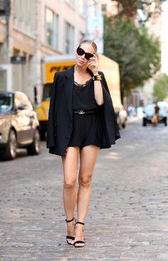 Soho Sleek Silk Romper: Anine Bing (wearing a small)   Blazer: Theory   Shoes: Steve Madden   Belt: Vintage Chanel   Cuff:Hermes CDC   Bag: Celine   Sunglasses: Celine   Fashion By Brooklyn Blonde