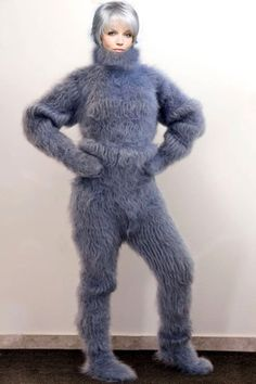 THICK AND FUZZY HAND KNITTED MOHAIR CATSUIT. Here you will findhand knitted mohair turtleneck ,crew neck ,V neck and othersweaters. Design :Ribbed design mohair catsuit with zipper at the back; Bad Fashion, Fashion Fail, Catsuit, Gros Pull Mohair, Beautiful Christina, Ugly Outfits, Mohair Sweater, Knit Patterns, Hand Knitting