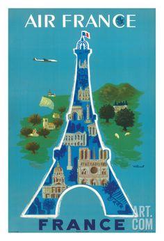 France - Air France - Eiffel Tower, Paris Giclee Print by Bernard Villemot at Art.com